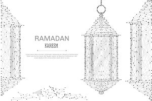 ramadan lantern low poly gray