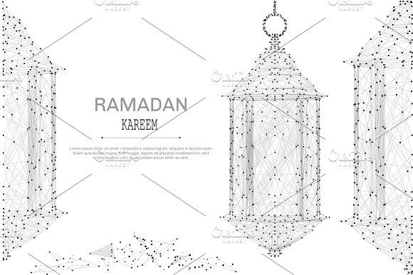 ramadan lantern low poly gray