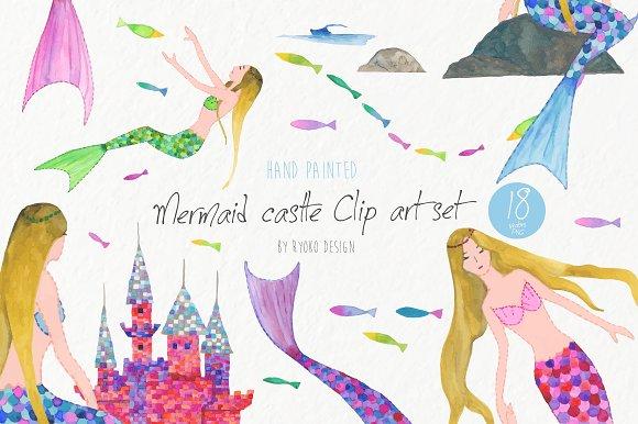 Mermaid princess and tropical fish