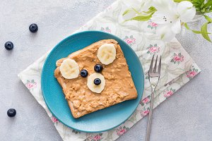 Teddy bear peanut butter toast