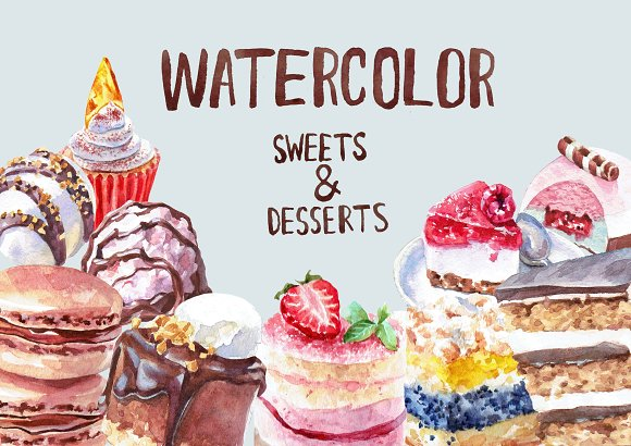 Watercolor Sweets and Desserts in Illustrations