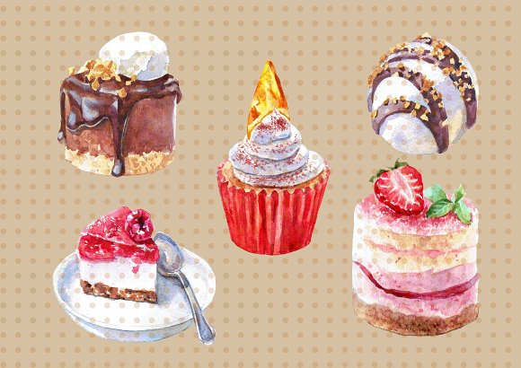 Watercolor Sweets and Desserts in Illustrations - product preview 1