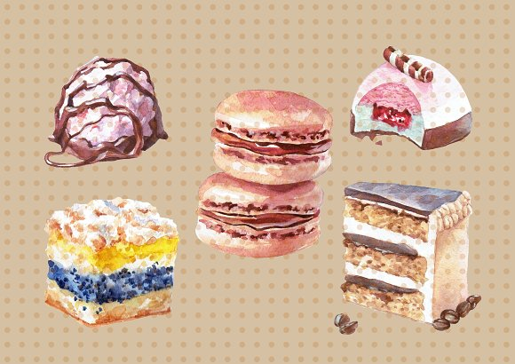Watercolor Sweets and Desserts in Illustrations - product preview 2