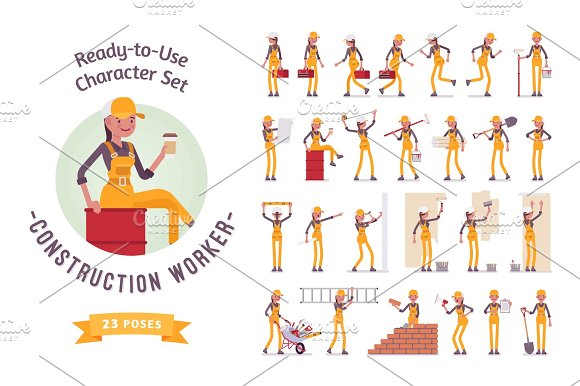 Ready-to-use Young Female Worker Character Set Various Poses And Emotions