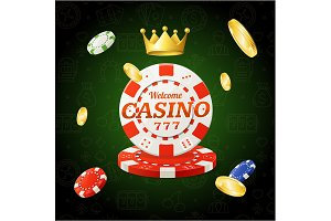 Casino Chips Sign and Banner. Vector