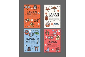 Japan Travel Flyers Banners Set.