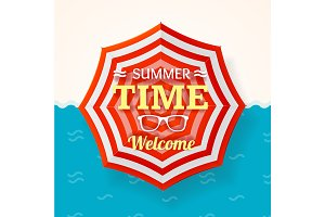 Summer Time Banner. Vector