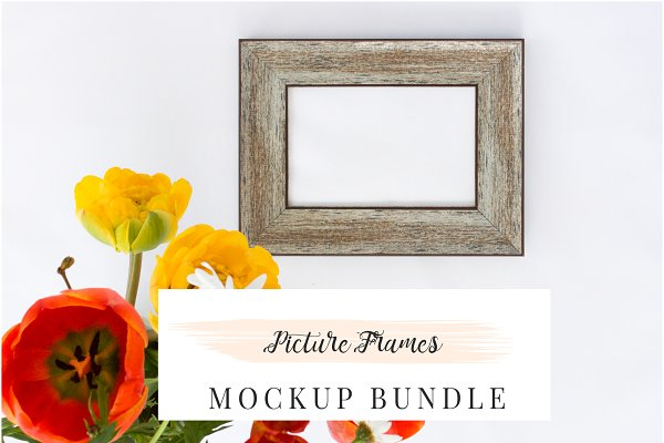 Photo Frame Mock-ups and Flowers