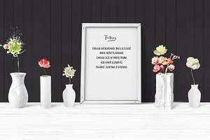 Paper Flowers Frame Mock Up