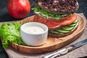 Vegetarian sandwiches with cream cheese and vegatables