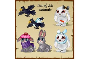 Three poor sick and healthy animals