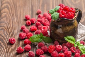 Fresh raspberry in a jug