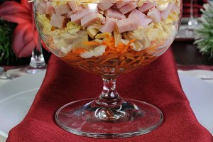 layered salad in a glass