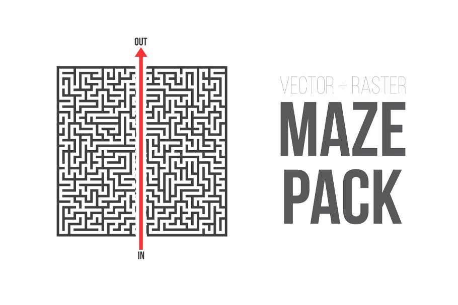 Vector Maze Puzzle Game Pack Illustrations Creative Market