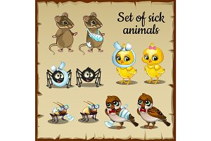 Sick and healthy cartoon animals