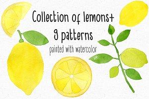 Watercolor lemons+9Patterns
