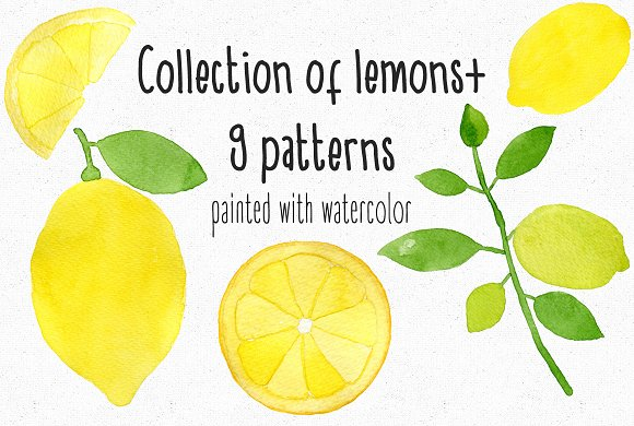Watercolor Lemons 9Patterns