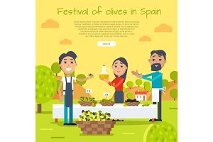 Festival of Olives in Spain Web Banner. Flat Style
