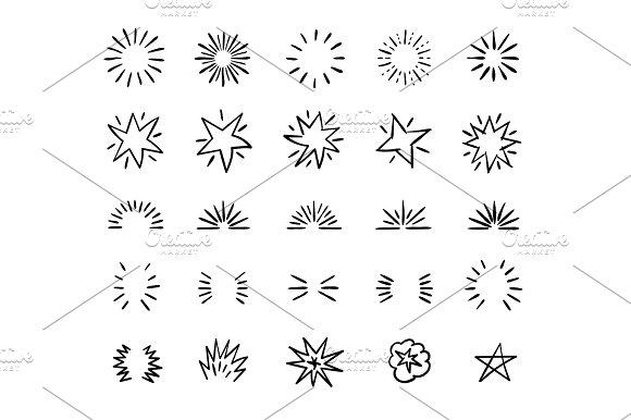 Elegant Ink Brush Circle Bursts And Whimsical Borders Hand Drawn Bursting Vector Decoration