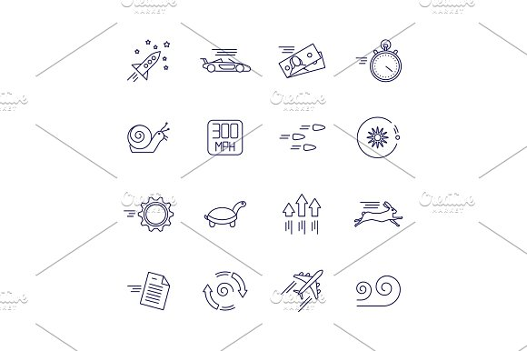 Motion And Speed Linear Icons Slow And Fast Vector Signs