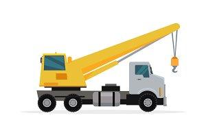 Telescopic Truck Crane Vector in Flat Design