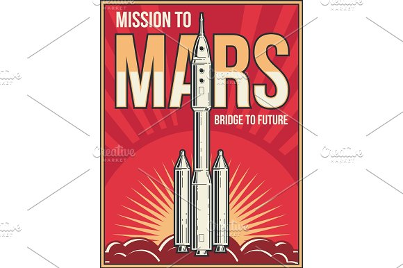 Outer Space Journey To Mars Background Universe Adventure Project Vector Vintage Poster