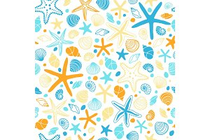 Cute vintage seamless pattern with hand drawn shells and starfishes