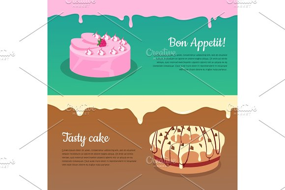 Bon Appetit And Tasty Cake Flat Vector Banners