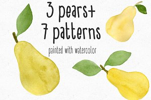 Watercolor pears + 7Patterns