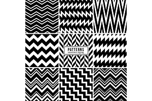 Zigzag vector patterns. Black and white regular striped geometric textures
