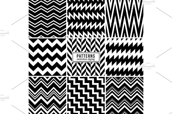 Zigzag Vector Patterns Black And White Regular Striped Geometric Textures