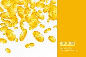 3d falling golden coins.