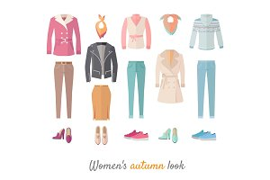 Women's Autumn Look Vector Concept in Flat Design