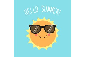 Hello Summer card as cute hand drawn smiling cartoon character of Sun