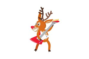 Deer Rock Musician Cartoon Vector Cartoon