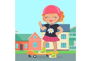 Young Girl in Helmet Sateboard in Park. Vector