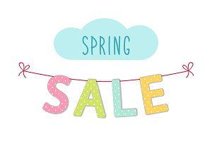 Cute colorful banner Spring Sale