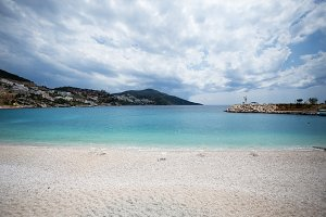 Seascape of Kalkan resort town of Turkey