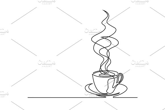 line drawing of cup of coffee