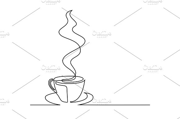 continuous line drawing of cup coffe