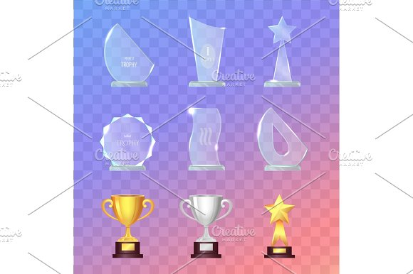 Glass And Metal Sport Trophies And Cups Vector Set