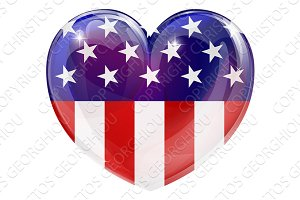 American flag love heart