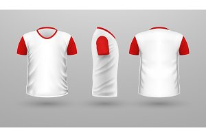 T-shirt Teplate Set. Front Side Back View. Vector