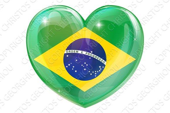 Brazil Flag Love Heart