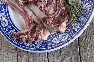 Raw fresh lamb ribs