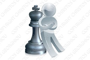 Silver chess man