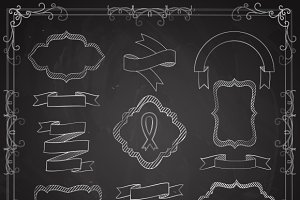 Vector Set of Chalkboard Banners
