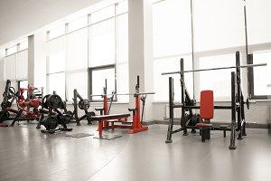 Modern luxury fitness center city view