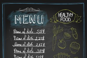 Chalkboard healthy food menu