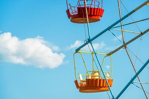Colorful cabins of Ferris wheel